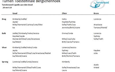 Medailleregen in Bergschenhoek Toestelfinale turnen